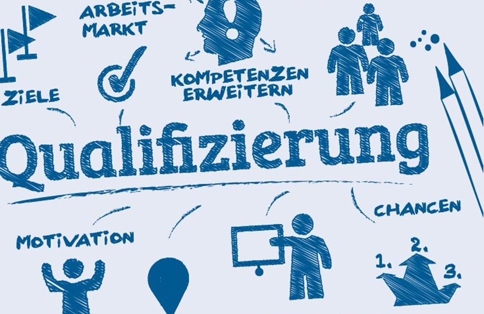 """Symbolbild zum Thema Qualifizierung mit den Schlagworten """"Arbeitsmarkt"""", """"Ziele"""", """"Kompetenzen erweitern"""", """"Arbeitnehmer"""", """"Motivation"""", """"Beruf"""", """"Weiterbildung"""", """"Chance""""."""